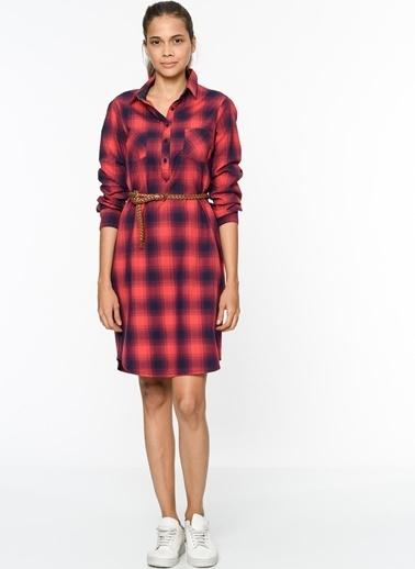 Lee Cooper Ekoseli Gömlek Elbise Kırmızı